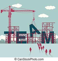 hommes affaires, site., construction bâtiments, team., groupe, marché