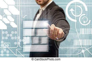 hommes affaires, toucher, a, futuriste, touchscreen,...