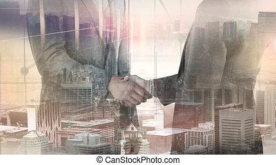 hommes affaires, ville, fond, poignée main, entre