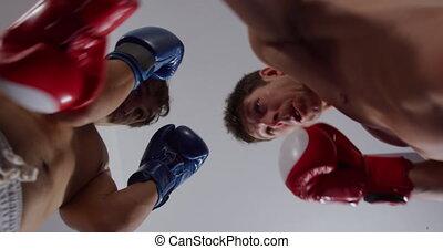 hommes, anneau boxe, deux, caucasien