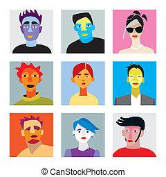 hommes, avatar, femmes, ensemble
