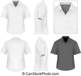 hommes, boutonner bas chemise, conception, gabarit