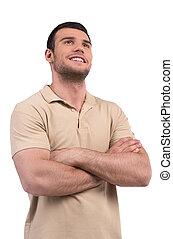 hommes, bras haut, traversé, thoughts., jeune, isolé, garder, tout, position souriante, quoique, sien, regarder, blanc