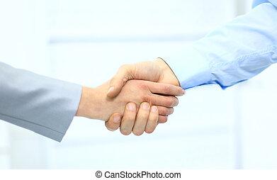 hommes, bureau affaires, secousse, main