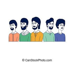 hommes, caractère, jeune, avatar
