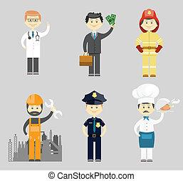 hommes, caractère, vecteur, professionnel, icône, ensemble