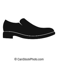 hommes, chaussure, simple, icône
