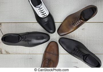 hommes, chaussures, variété