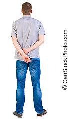 hommes, chemise, vue, dos, jeans., jeune