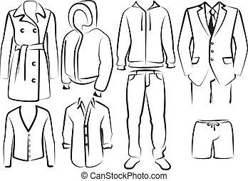 hommes, collection, vêtements