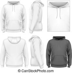 hommes, conception, hoodie, gabarit