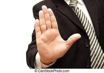 hommes, contre, fond, isolé, signaler, arrêt, main, blanc