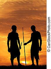 hommes, coucher soleil, indigène