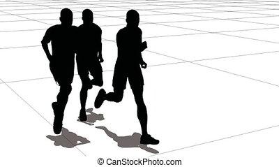 hommes, course, trois, sportif, grid.