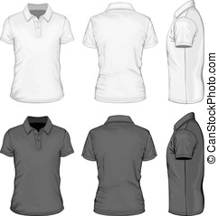 hommes, cylindre court, polo-shirt, conception, templates.
