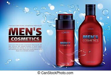 hommes, désodorisant, douche, produits de beauté, ...
