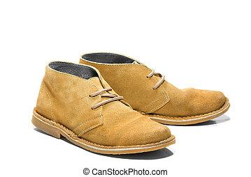 hommes, daim, chaussures jaune
