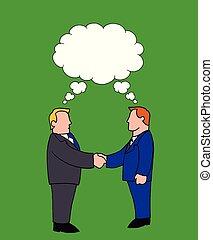 hommes, deux, même, idées, quoique, tenant mains, secousse