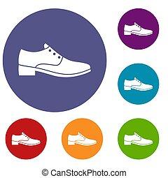 hommes, ensemble, chaussure, icônes