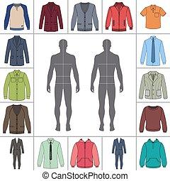 hommes, ensemble, habillement