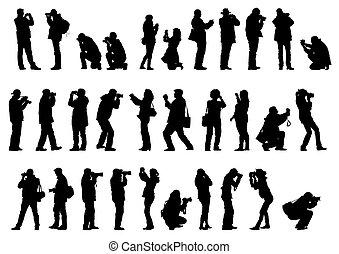 hommes, et, femme, à, appareil photo