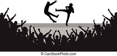 hommes, foule, gens, applaudir, deux, baston, scene., vecteur