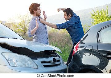 hommes, fracas, discuter, voiture, fâché, après, deux