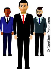hommes, groupe, business