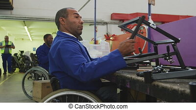 hommes, handicapé, travail