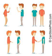 hommes, heureux, deux, secousse, cartooning, réunion, mains, isolé, ensemble, hommes, conversation, jeune, échangé, caractère, salutations, caractère, fond, homme, blanc