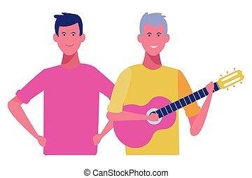 hommes, jeune, dessin animé