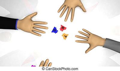 hommes, jouer, puzzle, stratégie, 3d