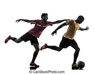 hommes, joueur, silhouette, debout, football, deux