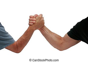 hommes, lutte, deux mains
