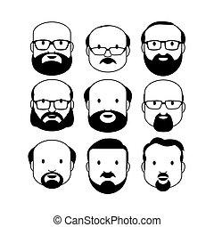 hommes, mâle, visage humain