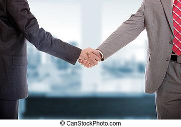 hommes, main, business, secousse