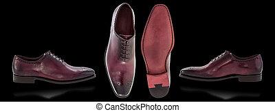 hommes, noir, chaussures, fond