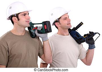hommes, outils, tenue, puissance