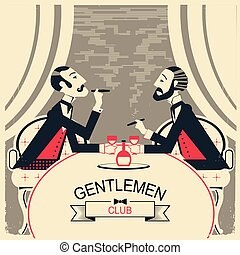 hommes parler, club, fumer, illustration, deux, messieurs
