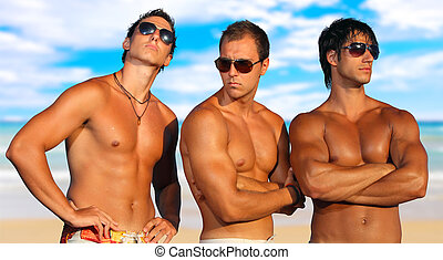 hommes, plage, délassant