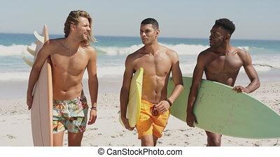 hommes, porter, planches surf, plage, 4k, jeune