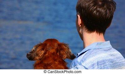 hommes, regard, mer, chien