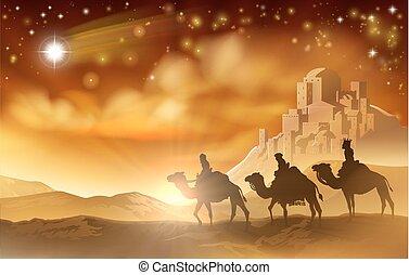 hommes sages, trois, illustration, nativité, noël