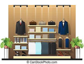 hommes, scène, 2, intérieur, vêtant magasin