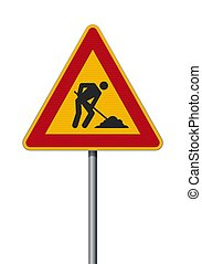 hommes, signe, travail, triangulaire, route