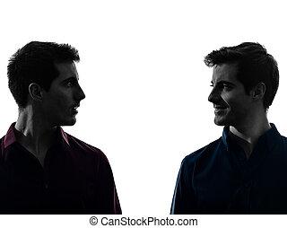 hommes, silhouette, jumeau, frère, chaque, regarder, amis, autres, deux