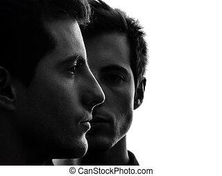 hommes, silhouette, jumeau, frère, fin, portrait, amis, haut, deux