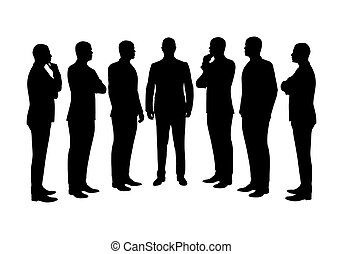 hommes, silhouettes, ensemble, vecteur, business