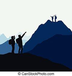 hommes, success., gagnant, deux, perdant, équipes, grimpeurs, vecteur, concourir, victoire, ou, montagne, femmes