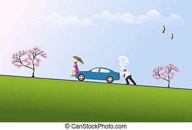 hommes, tenue, fond, haut, hill., camionner, ciel, voitures, séance, femme, devant, voiture bleue, cassé, parapluie